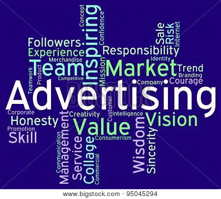 Advertising Wordcloud Means Advertisements Promotion And Advertisement