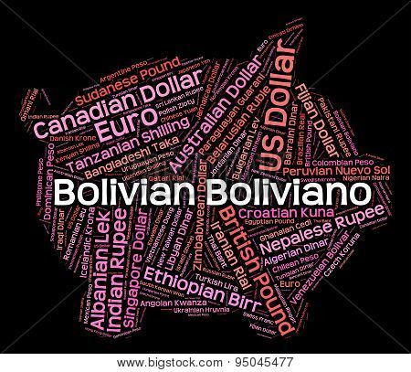 Bolivian Boliviano Shows Worldwide Trading And Bolivianos