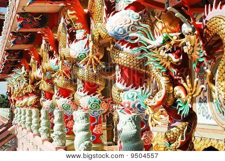 Dragon Decoration On Pillar In Chinese Temple