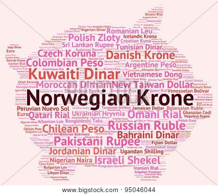Norwegian Krone Indicates Worldwide Trading And Exchange