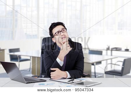 Businessman Thinking Idea With Hand On His Chin