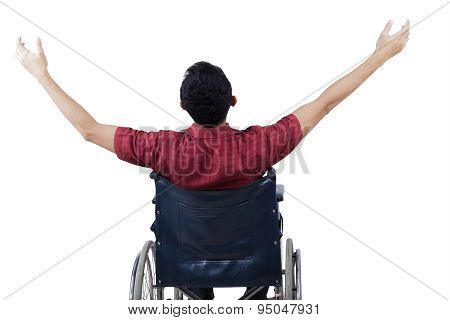 Disabled Man Enjoy Freedom On Wheelchair