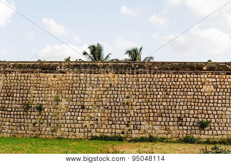 Exterior view of the boundary wall of an ancient historical fort