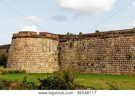 external boundary view of an ancient fort wall