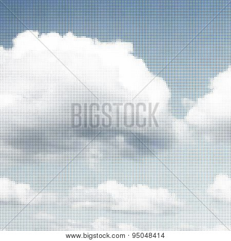 Blue Sky With Clouds In Halftone
