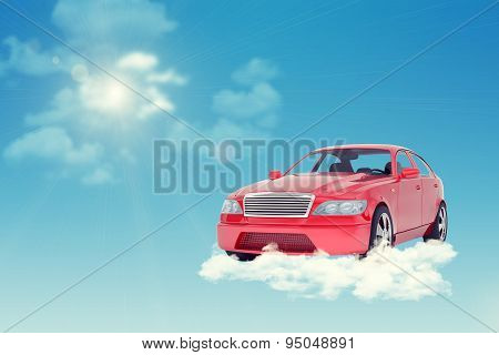 Red car on cloud