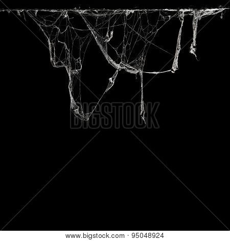 Cobweb Or Spider Web In Ancient Thai House Isolated On Black Background