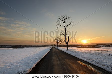 Winter Landscape with Country Road and Snow at Sunset