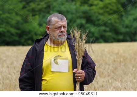 Portrait of a farmer looking on a wheat spikelets