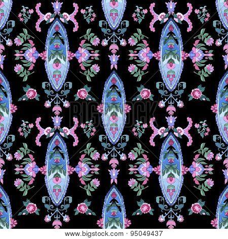 Watercolor paisley seamless pattern.