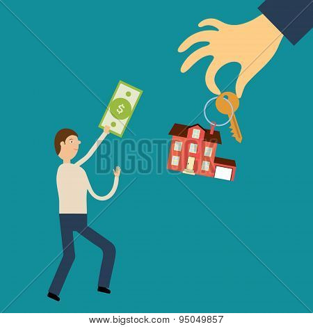 Man with the bill in hand runs to the hand holding out the key a
