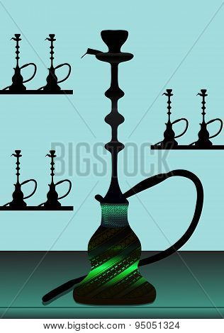 Green hookah with background - vector