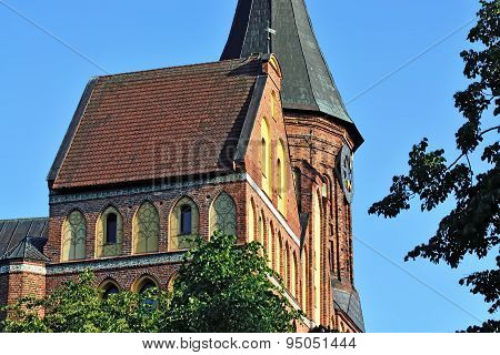 Tower Konigsberg Cathedral On A Summer Evening. Symbol Of Kaliningrad, Russia
