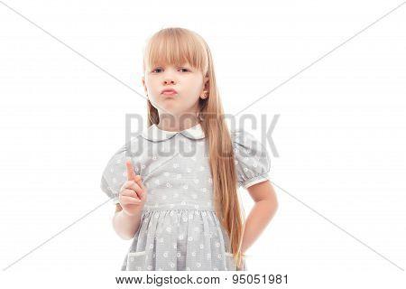 Little girl prohibiting doing smth