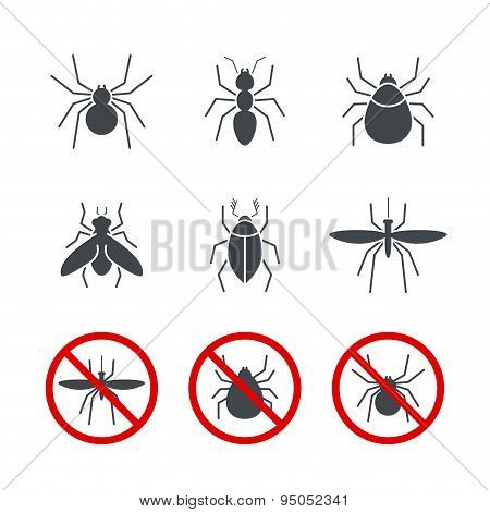 Insect simple vector icon set 2