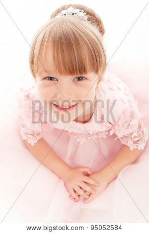 Nice girl sitting like princess