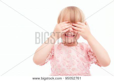 Nice little girl closing her hands.