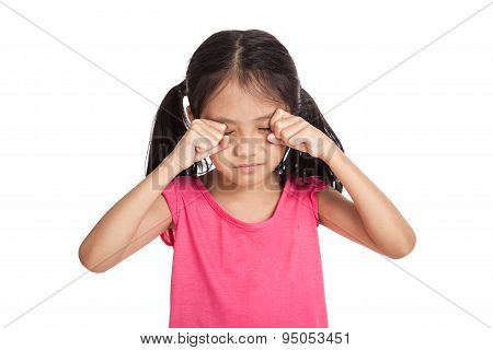 Little Asian Girl Is Sad And Cry