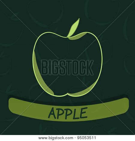 Apple Flavour Seal on Green Seamless Background