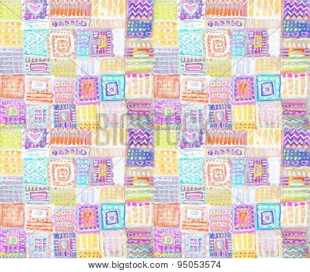 Abstract Colorful Hand Drawn Squares Background