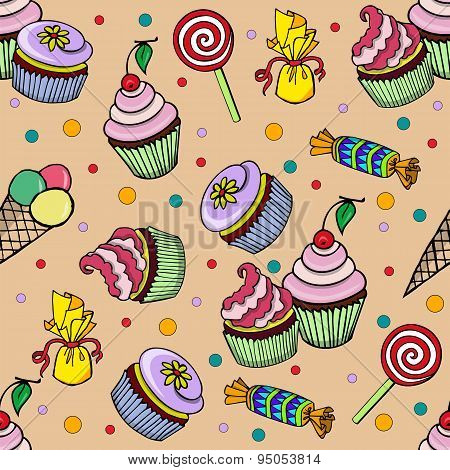 Pattern With Cupcake And Candys
