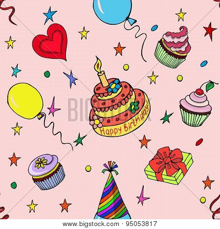 Seamless Pattern Happy Birthday