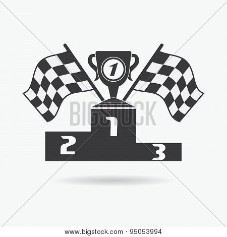 Flag Icon. Checkered Or Racing Flags First Place Prize Cup And Winners Podium. Sport Auto, Speed And