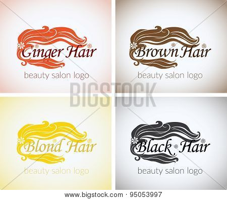 Hair Salon Company Identity Vector Logo Design Mock Up Template Set. Abstract Concept Blond Brown Bl