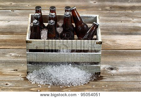 Vintage Crate With Ice Cold Bottle Beer On Rustic Wooden Boards