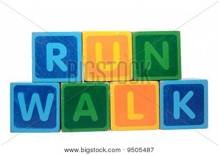 Run Before Walk In Toy Block Letters