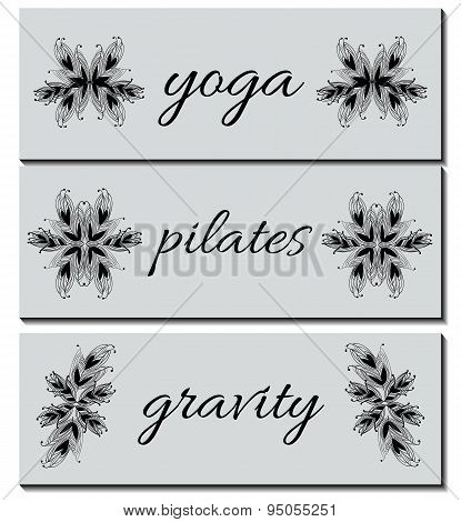 Collection Of Banners Business Cards With Hand-drawn Ornaments