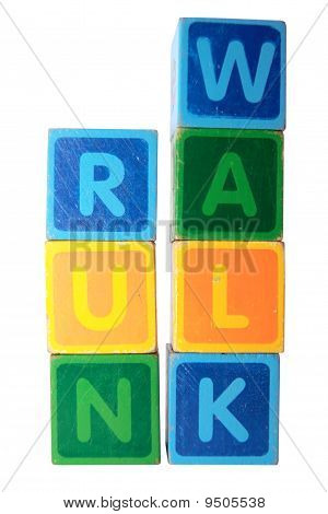 Run Before You Can Walk In Toy Block Letters