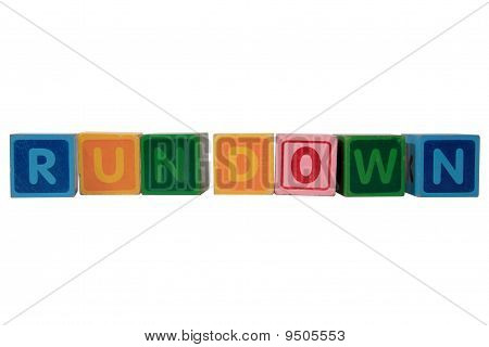 Rundown In Toy Play Block Letters With Clipping Path