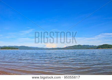 Views over the reservoir Kaengkrachan dam