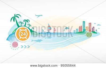 24 Hours Time Sign Icon On Travel Background.