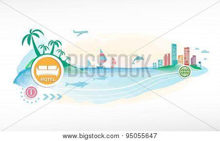 Hotel Single Icon On Travel Background.