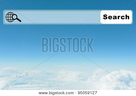 Blue sky background with browser