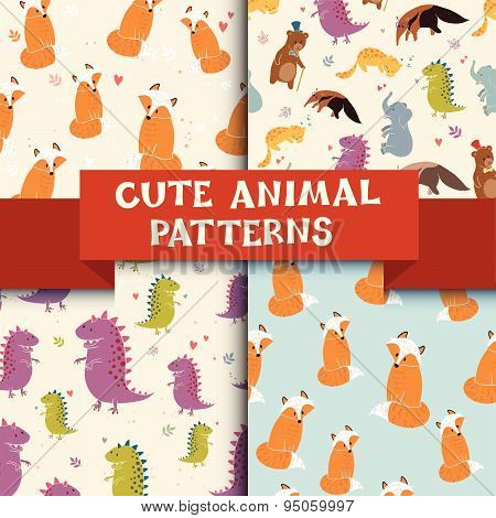 Set of 4 patterns with Cute Animals.