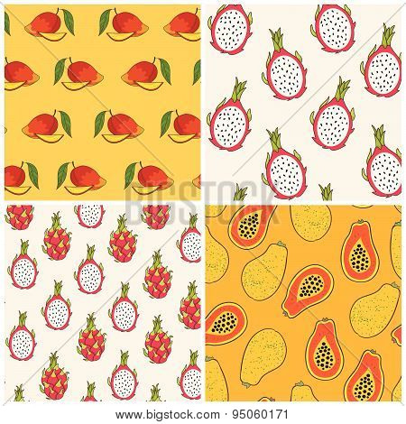 Dragon fruit papaya and mango pattern set vector Illustration.