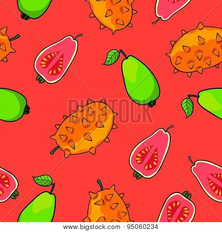 Horned melon and guava pattern vector Illustration.