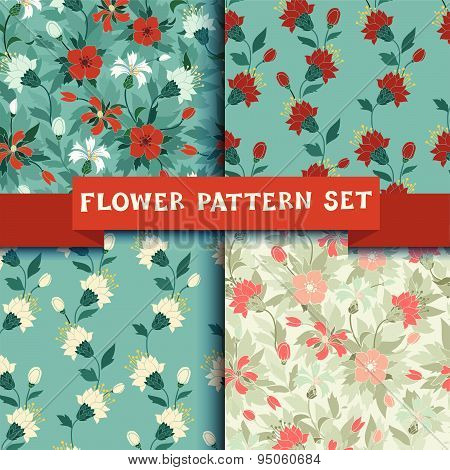 background flower patterns set