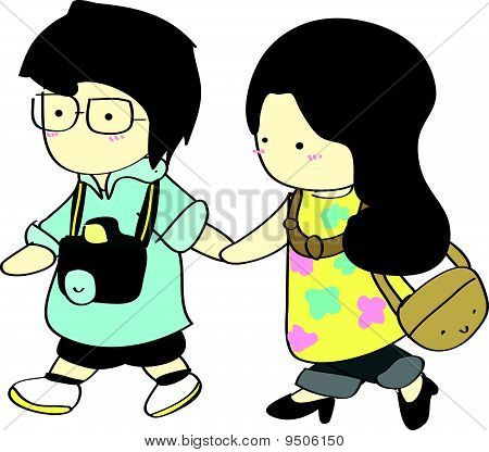 Cute boy and girl walking together