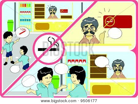 Anti smoking campaign cartoon vector illustration