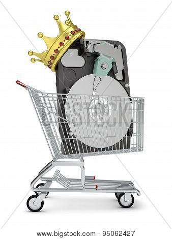 HDD and crown in shopping cart