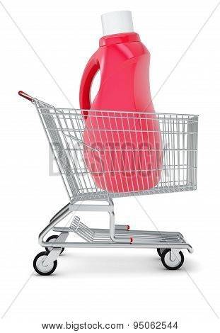 Bottle with chemical in shopping cart