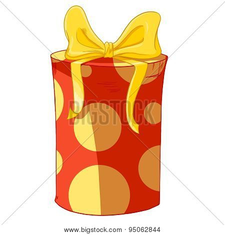 Red Cylinder Gift Box With Yellow Bow.