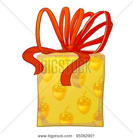 Yellow Gift Box With Red Bow.