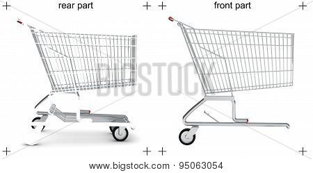 Rear and front parts of shopping cart