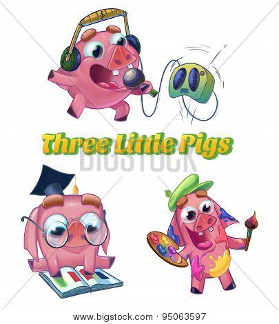 Three Little Pigs Illustration.