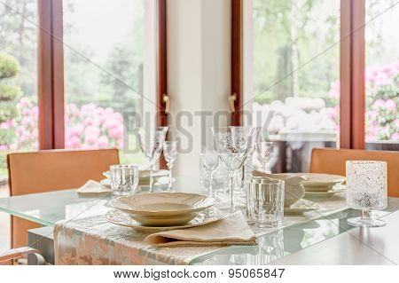 Crystal Stemware And Porcelain Tableware